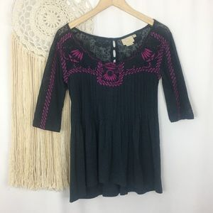 VANESSA VIRGINIA Embroidered Lace Pleated Blouse